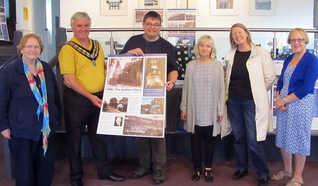Local historians Adrian Farmer and Mary Smedley with Mayor Gary Spendlove and some of the walkers.