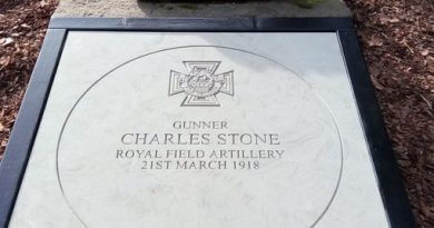 Stone Unveiled At Memorial Gardens For WW1 Hero
